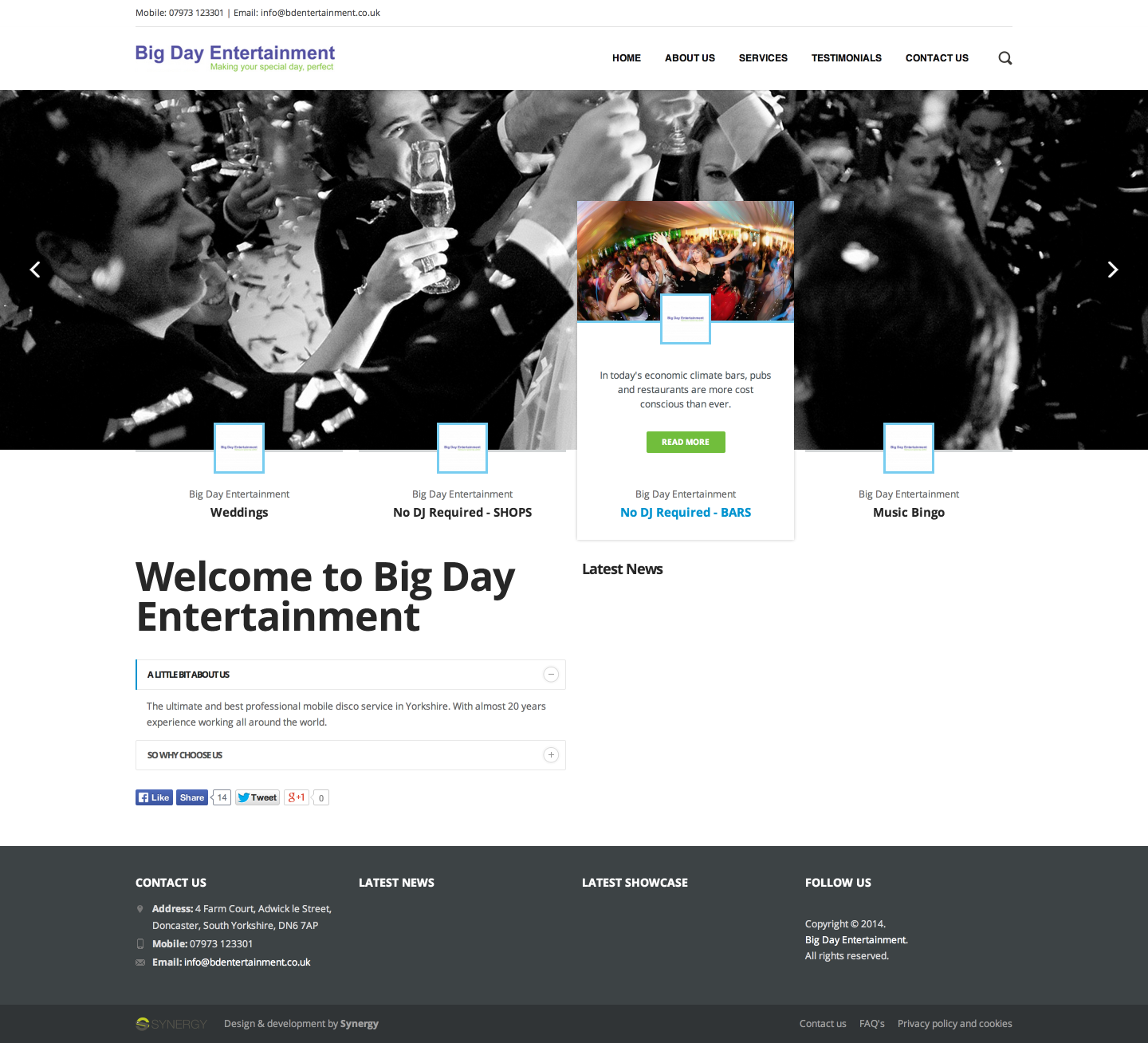 Big Day Entertainment web design & development