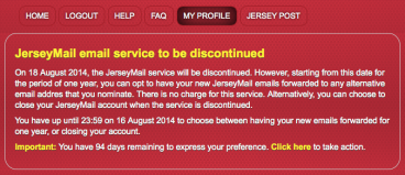 JerseyMail email service to be discontinued