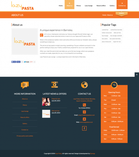 Lazy Pasta web design & development